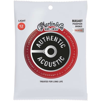 Martin MA540T Authentic Acoustic Lifespan 2.0 Phosphor Bronze Acoustic Guitar Strings - Light (.12 - .54)