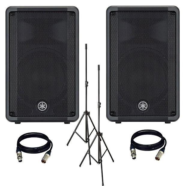 Yamaha DBR10 700-Watt Powered Speaker + Speakers Stands (Pair) + (2) XLR to  XLR Cables 25FT EA