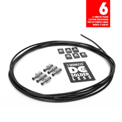 3 Monkeys Solderless DC Power Red Cable Kit - 6 Pack / 3 Cables