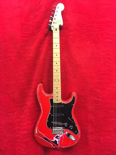 squier stratocaster custom 1987 red black folkies music reverb. Black Bedroom Furniture Sets. Home Design Ideas