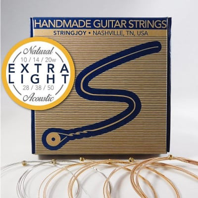 Stringjoy Extra Light (10-50) Natural Bronze Acoustic Guitar Strings image