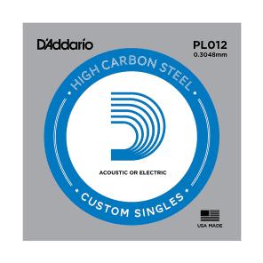 D'Addario PL012-5 Plain Steel Guitar Single String .012 5-pack