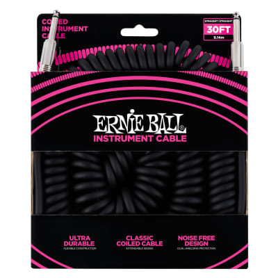 Ernie Ball 30' Coiled Straight / Straight Instrument Cable, Black for sale