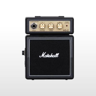 Marshall MS-2 1-Watt Battery-Powered Black Micro Guitar Amp, Black Finish for sale