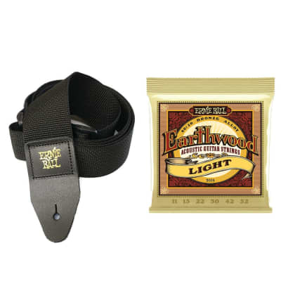 Ernie Ball Earthwood Light 80/20 Acoustic Strings with Black Polypro Strap