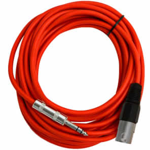 """Seismic Audio SATRXL-M25RED XLR Male to 1/4"""" TRS Male Patch Cable - 25'"""