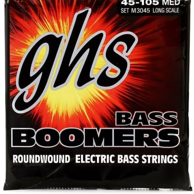 GHS M3045 Bass Boomers Roundwound Electric Bass Strings - .045-.105 Medium Long Scale