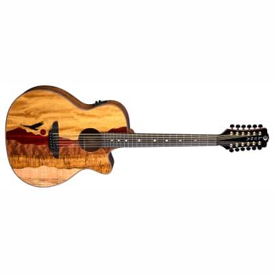Luna VISTA EAGLE 12 String Acoustic-Electric Guitar + Hardshell Case Natural