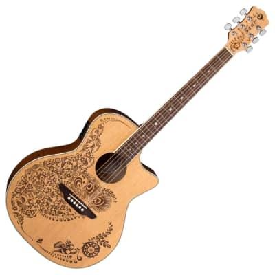 76e3f985aae Luna HEN OA SPR Henna Oasis Select Spruce Acoustic Electric Guitar