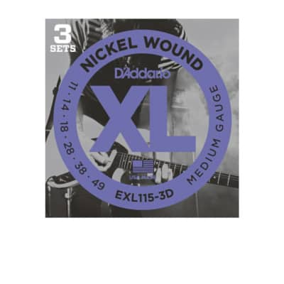 D'Addario EXL115-3D Nickel Wound Electric Guitar Strings, 3 Sets, Medium/Blues-Jazz Rock, 11-49, 3 Sets for sale
