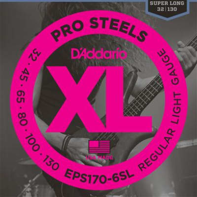 D'Addario EPS170-6SL ProSteel 6 String Bass Guitar Strings 32-130