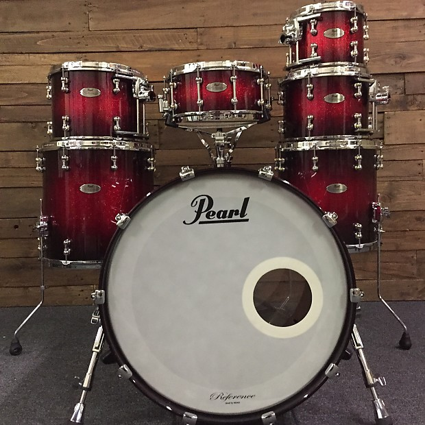 Pearl 7 Piece Reference Pure Drum Set 22B 10 12 13 14F 16F 14S Scarlet Sparkle Burst