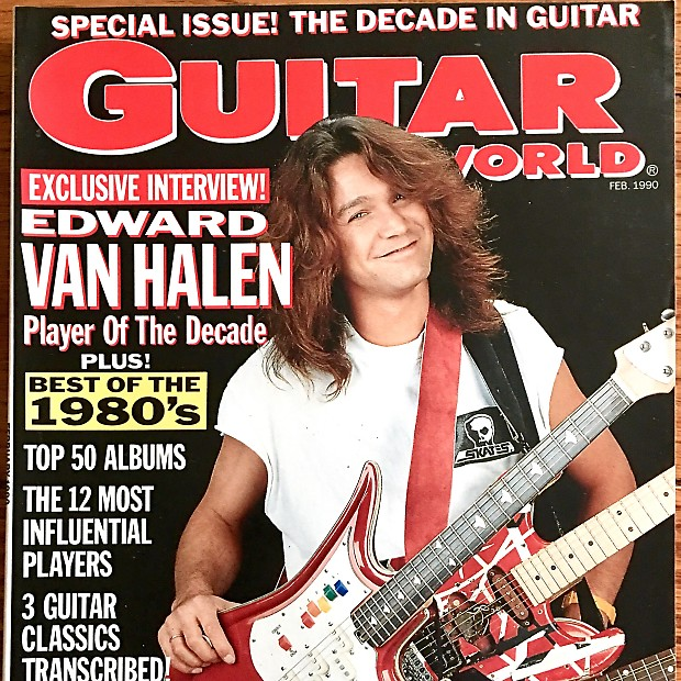 guitar world february 1990 eddie van halen is on the cover reverb. Black Bedroom Furniture Sets. Home Design Ideas