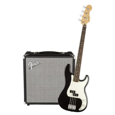 Fender Player Precision Bass Pau Black Ferro & Fender Rumble 25 Bundle for sale