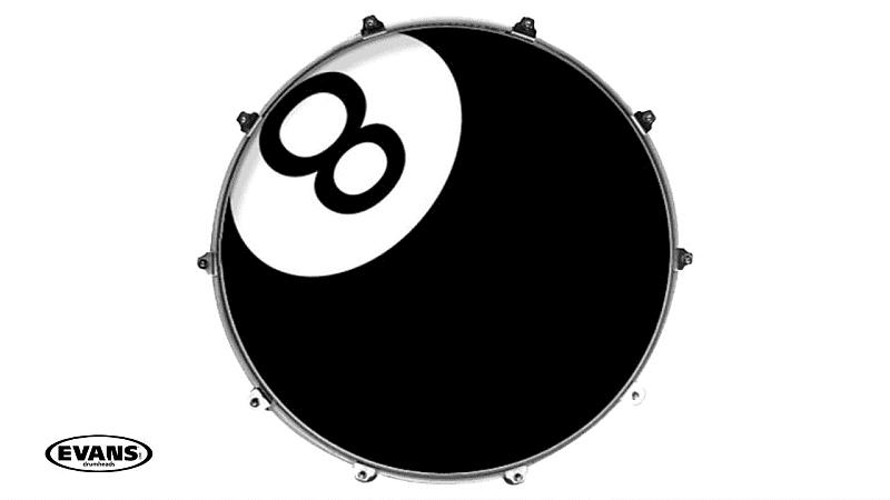 evans 22 inked 8 ball graphic bass drum head klash reverb. Black Bedroom Furniture Sets. Home Design Ideas