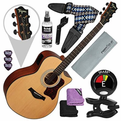 Tagima America Series California-T Acoustic Electric Guitar, Natural Satin with Guitar Strap and Accessory Bundle for sale