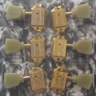 Grover Grover Gold 3x3 Vintage Style Tuners with Ivoroid Keystone Buttons TK-7940-002 for sale