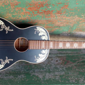 """Recording King RPS-7L-MBK Dirty 30's Series 7 Limited Edition """"Lily of the Valley"""" Single-0 Matte Black with Graphic"""