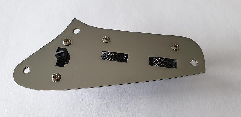 jaguar guitar preset control plate kit chrome bracket reverb. Black Bedroom Furniture Sets. Home Design Ideas