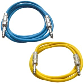"""Seismic Audio SATRX-3-BLUEYELLOW 1/4"""" TRS Patch Cables - 3' (2-Pack)"""