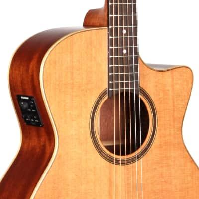 Teton STA105CENT Auditorium Acoustic Electric Guitar & HS Case, Solid Cedar Top,  Mahogany B&S