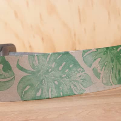 Ukulele Strap - Handmade with Monstera Leaves by Moxie & Oliver - Green and Silver