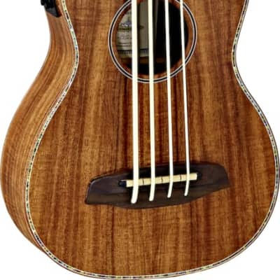 Ortega Guitars CAIMAN-GB-GB Lizard Series Ukulele-Bass Acacia top, back & sides Gloss Finish with Free Deluxe Gig Bag & Built-in Electronics & Tuner for sale