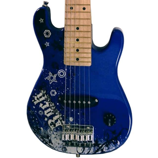 Fishbone Guitars ROCK  Mini Model STS-BLU-2 Shorty Travel Guitar Strat Style with Gig Bag + Strap image