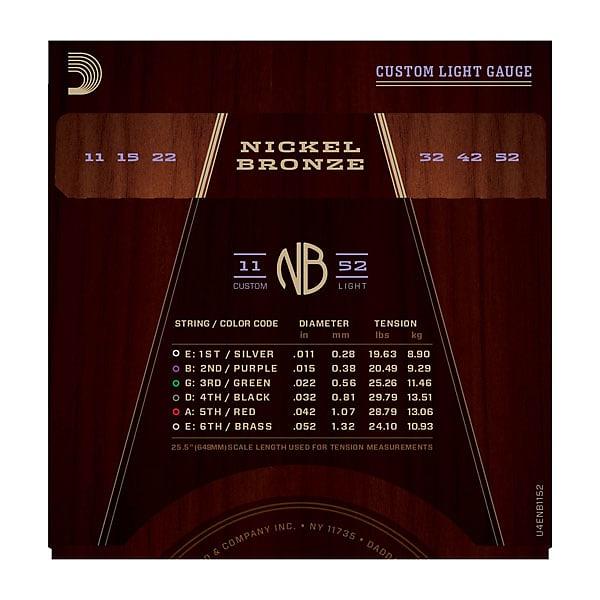 D'Addario NB1152 Nickel Bronze Acoustic Guitar Strings, Custom Light, 11-52