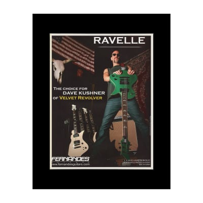 2004 Dave Kushner for Fernandes Guitars Original Magazine Ad Double Matted for 11 x 14 Frame