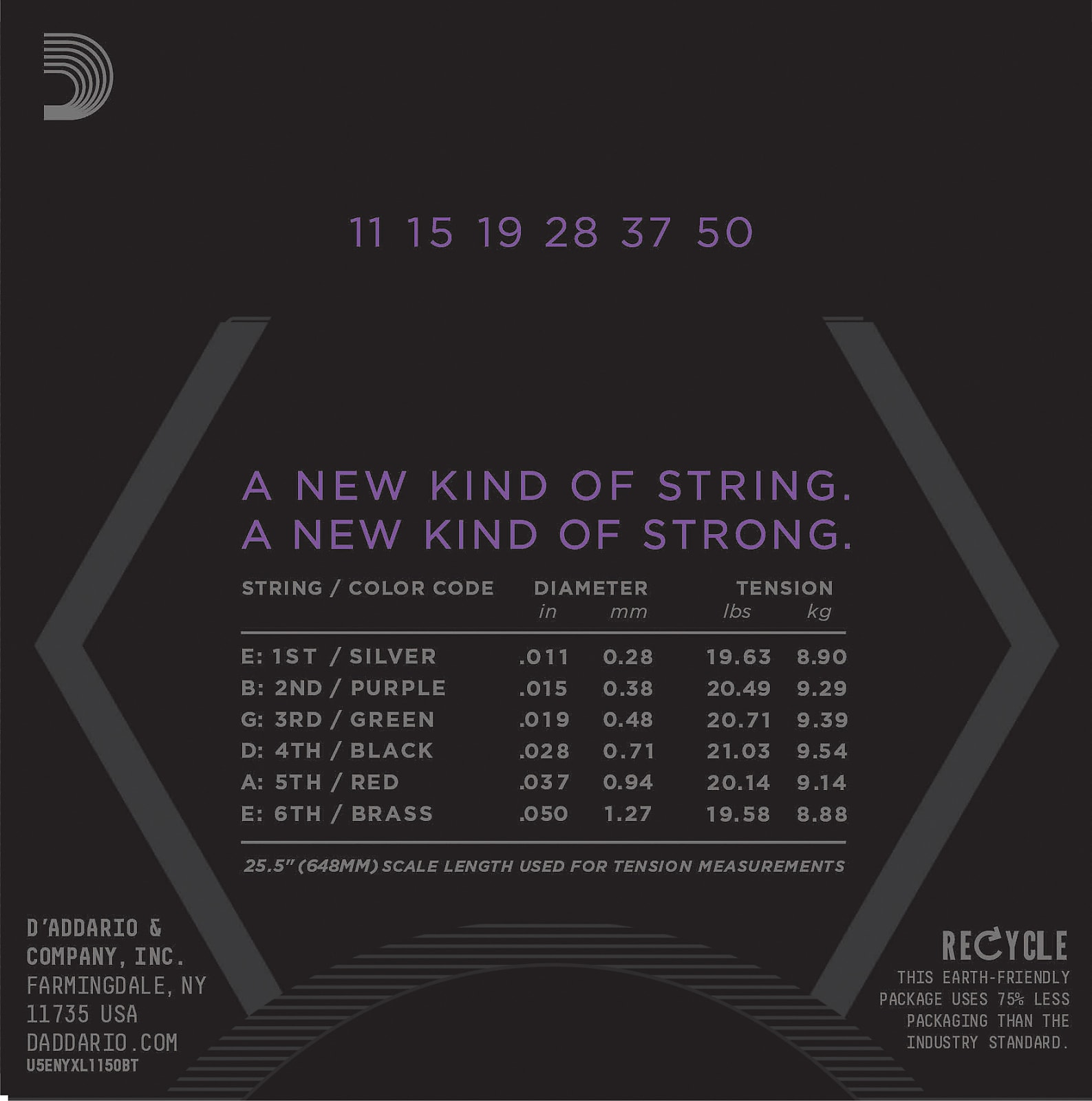 D'Addario NYXL1150BT Nickel Wound Electric Guitar Strings, Balanced Tension Med