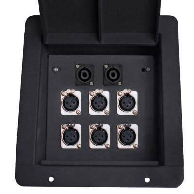 Elite Core recessed Metal Floor Cable Box with 6 XLR and 2 Speakon Connectors
