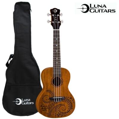 Luna Guitars Tattoo Concert Ukulele (UKE-TC-MAH) with Gig Bag for sale