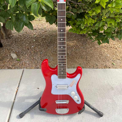 Vintage Memphis A-2 Double Cutaway Short Scale Guitar 70s Red Free Shipping for sale