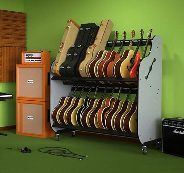 the band room double stack guitar shelf rack reverb. Black Bedroom Furniture Sets. Home Design Ideas