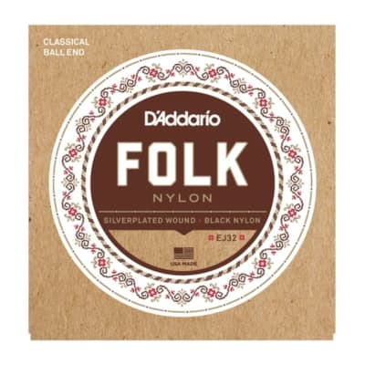 D'Addario EJ32C Folk Nylon, Ball End, Silver Wound/Black Nylon Trebles