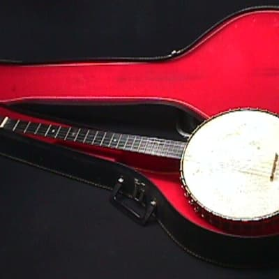 An Antique Custom Made Five String Plectrum Banjo in a Roomy Chipboard Case Ready to Play   1 B for sale