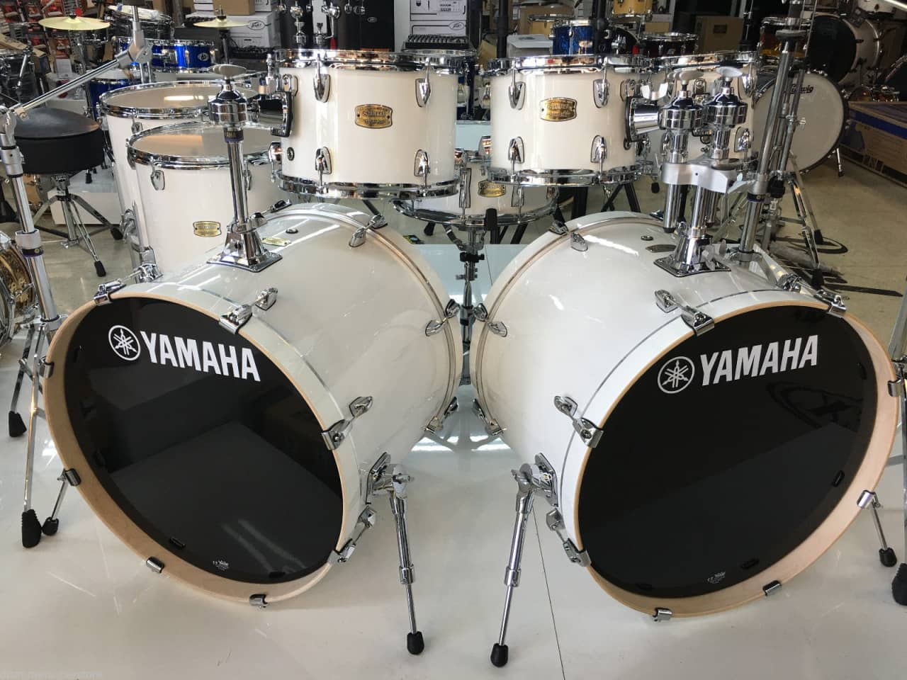 yamaha stage custom birch pure white double bass 22 reverb. Black Bedroom Furniture Sets. Home Design Ideas