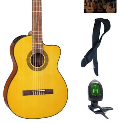 Takamine G Series GC1CE-NAT Acoustic-Electric Classical Cutaway Guitar, Natural Bundle