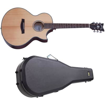Schecter Orleans Stage Acoustic Natural Satin Top Vampyre Red Satin Back VRS NEW AE Guitar + CASE for sale