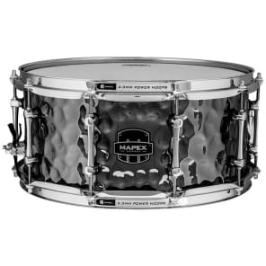 """Mapex ARST465HCEB Armory Daisy Cutter 14x6.5"""" Hammered Steel Snare Drum"""