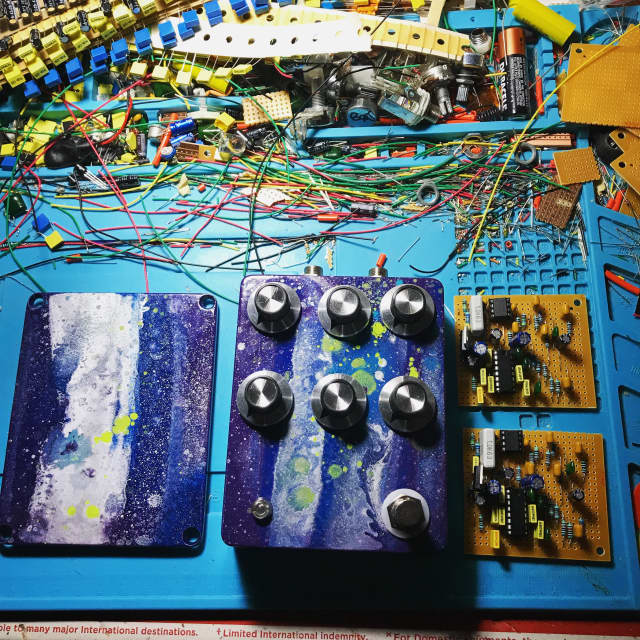 Built by Ryan Handmade modded echobender tape style delay y y  2018 Space paint fiasco image