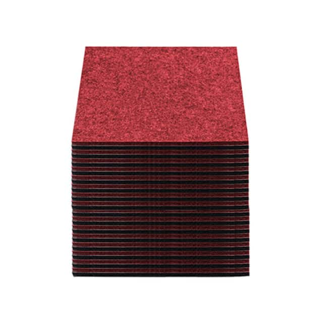 Arrowzoom 32 pcs Black & Red 11.8 x 11.8 x 0.4 inches Sound Deadening Polyester Acoustic Panels image
