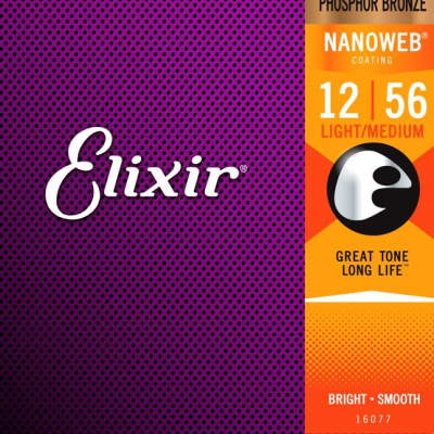 Elixir 16077 Nanoweb Phosphor Bronze Acoustic Guitar Strings - Light-Medium (12-56)