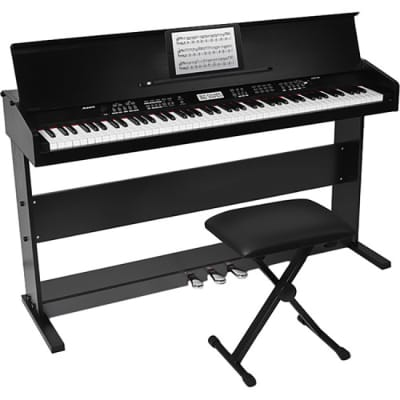 Alesis Virtue 88-Key Digital Piano with Wooden Stand and Bench (Black)