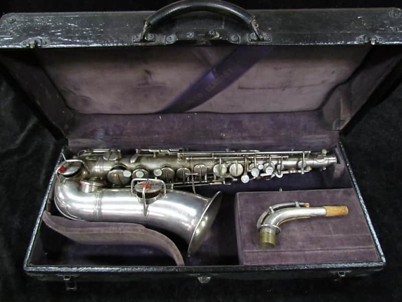 CG Conn Early Vintage New York 'Wonder Improved' Alto Sax w/ Double 8ve  Keys - Serial # 4580 silver plated