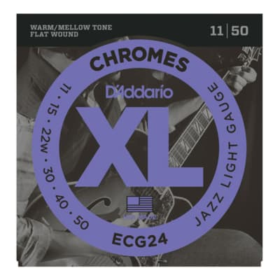 D'Addario ECG24 XL Chromes Flatwound Electric Guitar Strings, Jazz Light Gauge Standard
