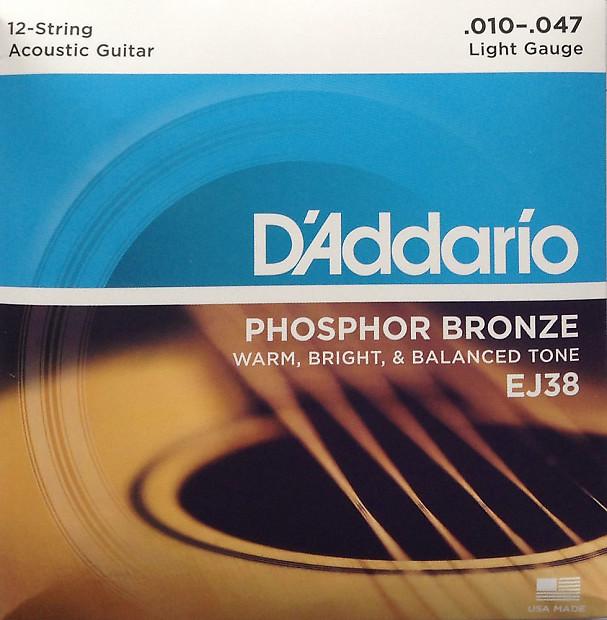 D/'Addario 12-string Phosphor Bronze Acoustic Guitar Strings 10-47  lite; EJ38