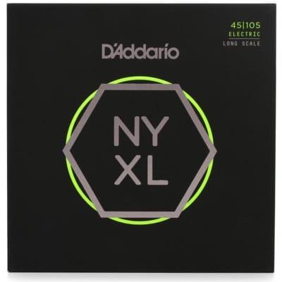 D'Addario NYXL45105 Carbon Steel Strings, Light Top/Medium Bottom, 45-105, Long Scale
