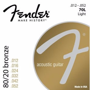 New Fender 70L 80/20 Bronze Ball End Acoustic Guitar Strings, Light 12-52  (0730070403) for sale